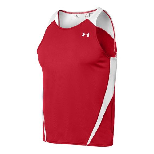 Mens Under Armour Interval Singlets Technical Tops - Red/White 3X