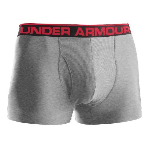 Mens Under Armour The Original BoxerJock 3'' Underwear Bottoms - True Grey Heather/Red L