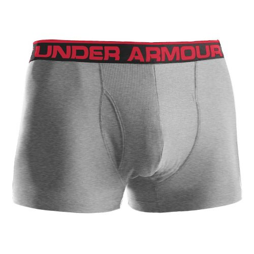 Mens Under Armour The Original BoxerJock 3'' Underwear Bottoms - True Grey Heather/Red S