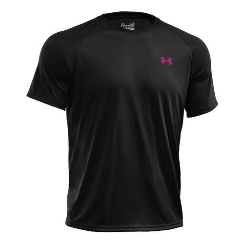 Mens Under Armour Tech T Short Sleeve Technical Tops - Black/Tropic Pink XL