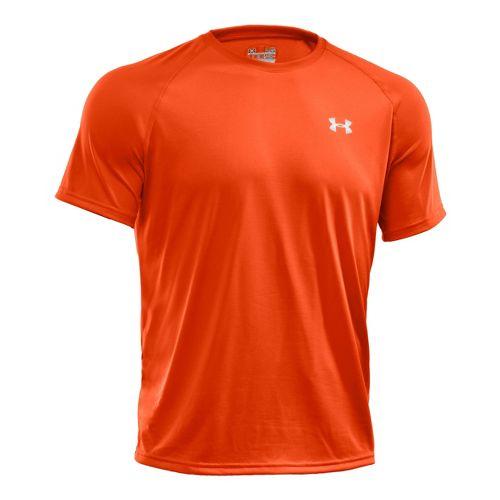 Mens Under Armour Tech T Short Sleeve Technical Tops - Dark Orange/White XL