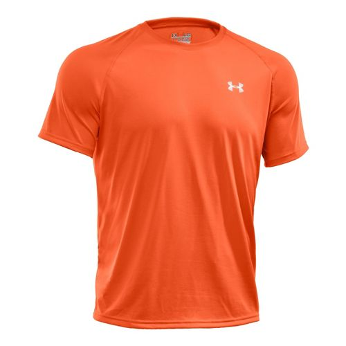 Mens Under Armour Tech T Short Sleeve Technical Tops - Explosive/Black L