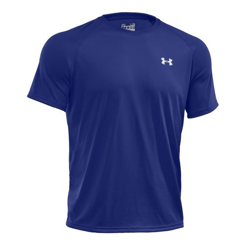 Mens Under Armour Tech T Short Sleeve Technical Tops - Royal/White M