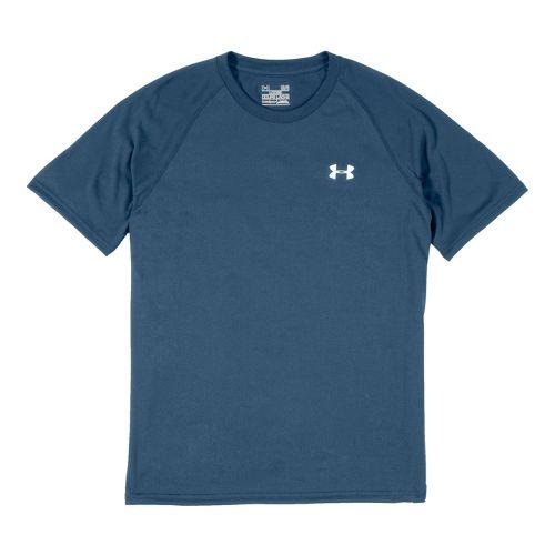 Mens Under Armour Tech T Short Sleeve Technical Tops - Wham/White XXL