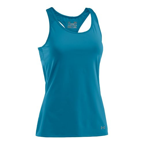 Womens Under Armour See Me Go Support Tanks Technical Tops - Deceit/Deceit L