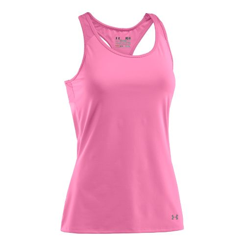 Womens Under Armour See Me Go Support Tanks Technical Tops - Fluo Pink/Fluo Pink S ...