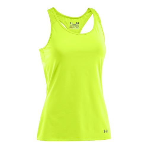 Womens Under Armour See Me Go Support Tanks Technical Tops - High Vis Yellow/High Vis ...