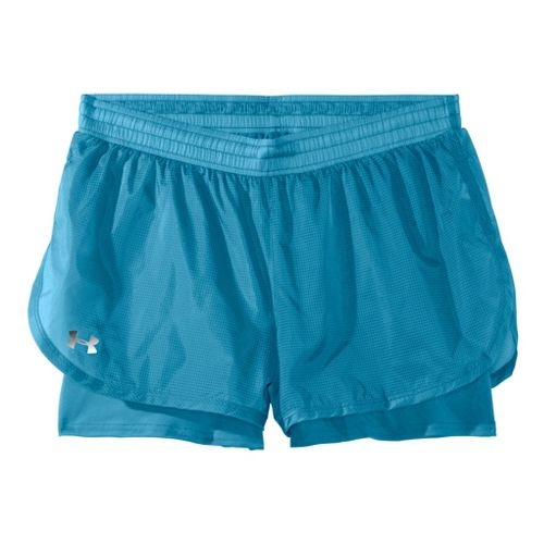 Womens Under Armour See Me Go Translucent 2-in-1 Shorts - Deceit/Deceit M
