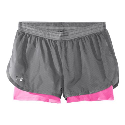Womens Under Armour See Me Go Translucent 2-in-1 Shorts - Graphite/Fluo Pink S