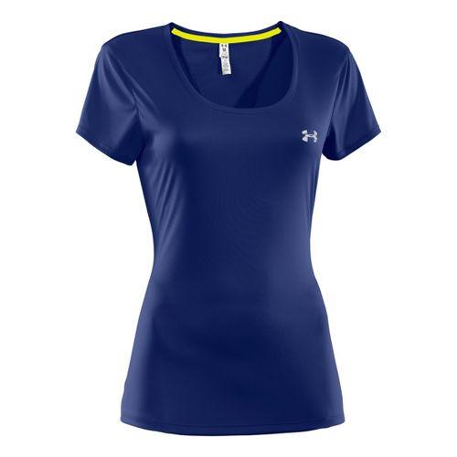 Womens Under Armour Heatgear Flyweight T Short Sleeve Technical Tops - Blu-Away/Reflective XS