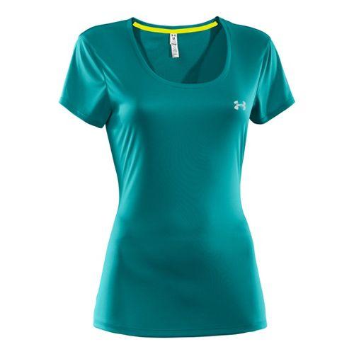 Womens Under Armour Heatgear Flyweight T Short Sleeve Technical Tops - Cerulean/Reflective XS