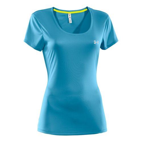 Womens Under Armour Heatgear Flyweight T Short Sleeve Technical Tops - Deceit/Deceit S