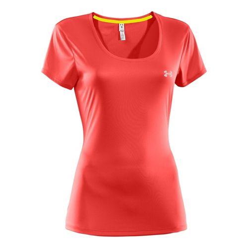 Womens Under Armour Heatgear Flyweight T Short Sleeve Technical Tops - Fire/Fire M