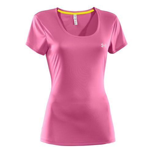 Womens Under Armour Heatgear Flyweight T Short Sleeve Technical Tops - Fluo Pink/Fluo Pink XS ...