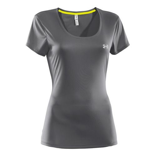 Womens Under Armour Heatgear Flyweight T Short Sleeve Technical Tops - Graphite/Graphite XS