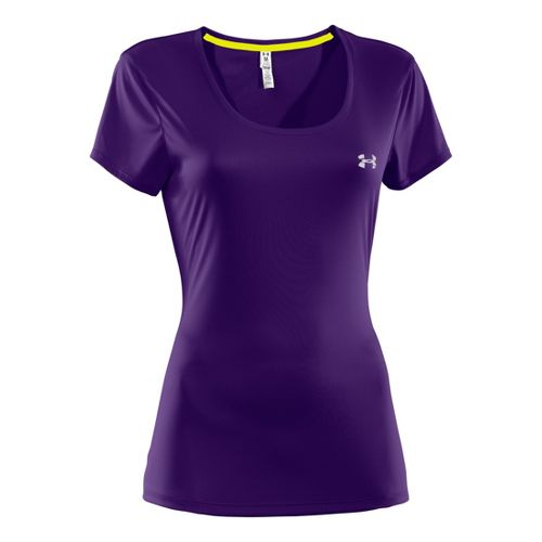 Womens Under Armour Heatgear Flyweight T Short Sleeve Technical Tops - Purple Rain/Reflective S