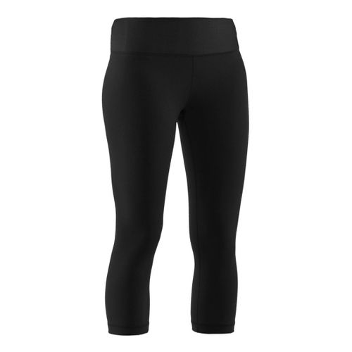 Womens Under Armour Perfect Capri Fitted Tights - Black/Metallic Pewter XL
