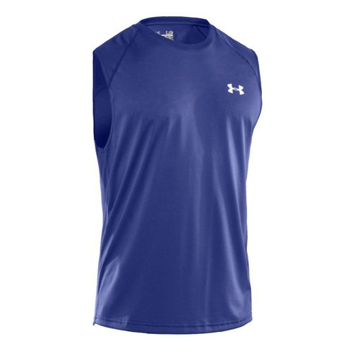Mens Under Armour Tech T Sleeveless Technical Tops - Royal/White XXL