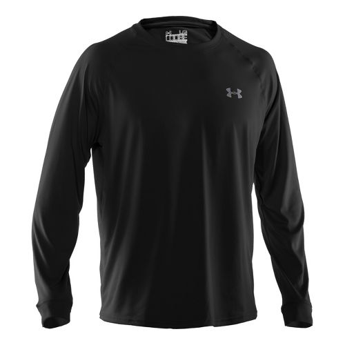 Mens Under Armour Tech T Long Sleeve No Zip Technical Tops - Black/White L