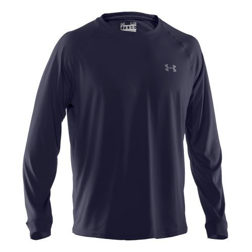 Mens Under Armour Tech T Long Sleeve No Zip Technical Tops - Midnight Navy/White L ...