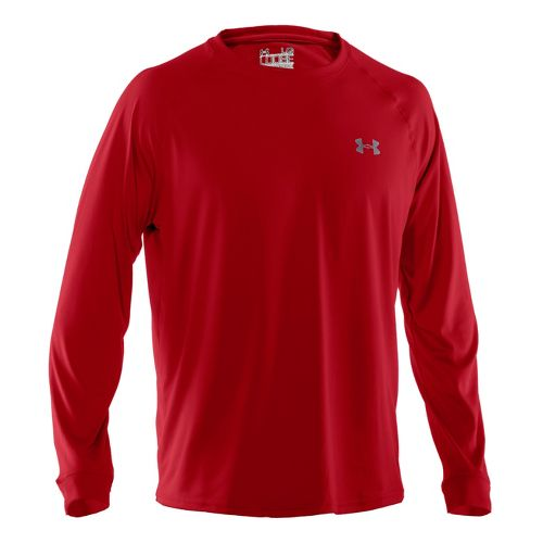 Mens Under Armour Tech T Long Sleeve No Zip Technical Tops - Red/White XL