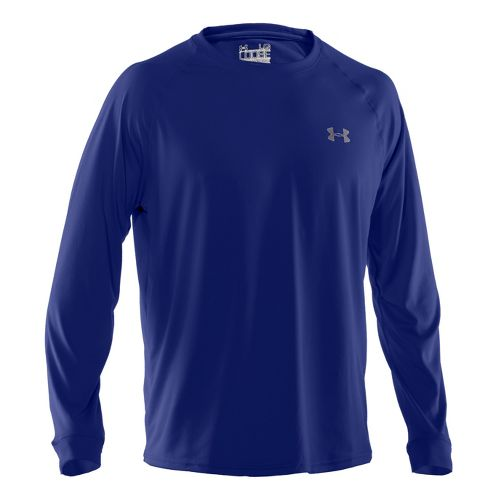 Mens Under Armour Tech T Long Sleeve No Zip Technical Tops - Royal/White 3X