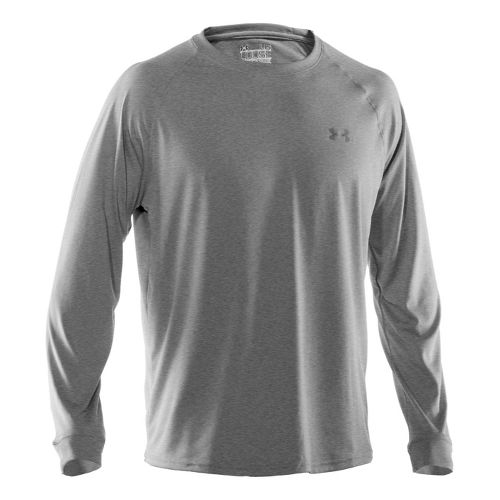 Mens Under Armour Tech T Long Sleeve No Zip Technical Tops - True Grey Heather/Black ...