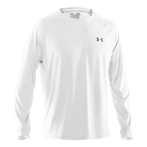 Mens Under Armour Tech T Long Sleeve No Zip Technical Tops - White/Black XL