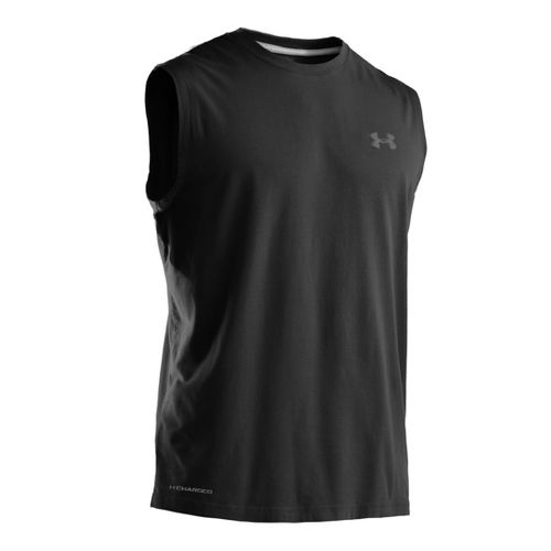 Mens Under Armour Charged Cotton T Sleeveless Technical Tops - Black/Graphite 3X