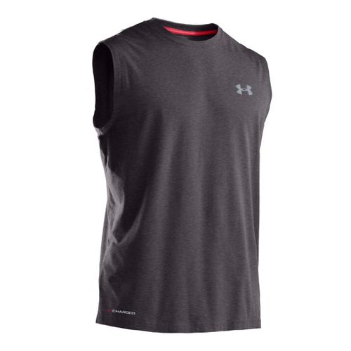 Mens Under Armour Charged Cotton T Sleeveless Technical Tops - Carbon Heather/Steel L