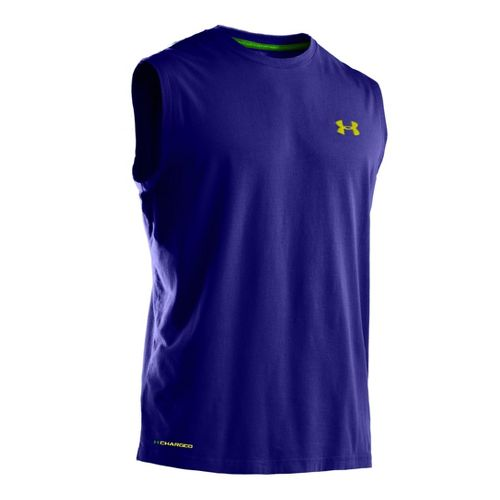 Mens Under Armour Charged Cotton T Sleeveless Technical Tops - Caspian/Taxi L