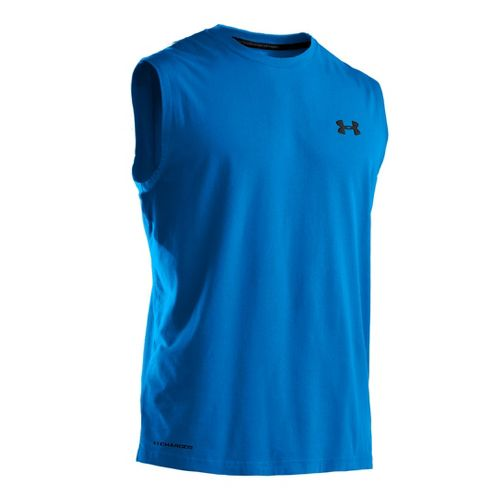 Mens Under Armour Charged Cotton T Sleeveless Technical Tops - Electric Blue/Black M