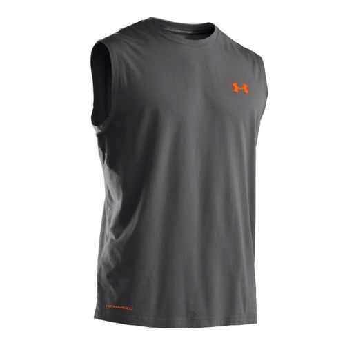 Mens Under Armour Charged Cotton T Sleeveless Technical Tops - Graphite/Blaze Orange M