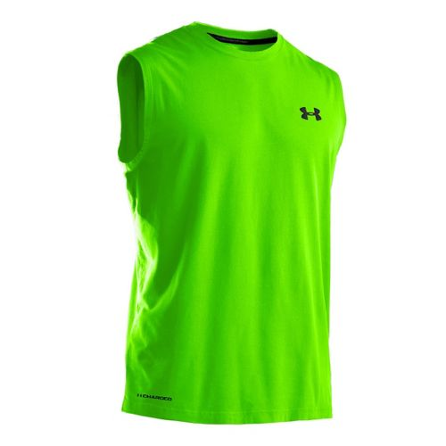 Mens Under Armour Charged Cotton T Sleeveless Technical Tops - Hyper Green/Black XXL