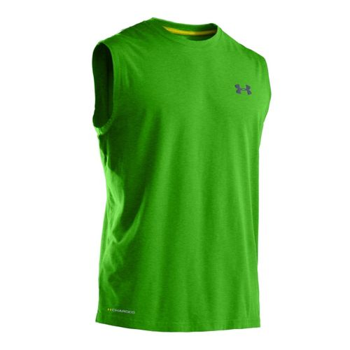 Mens Under Armour Charged Cotton T Sleeveless Technical Tops - Parrot Green/Wire 3X