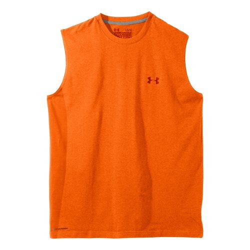 Mens Under Armour Charged Cotton T Sleeveless Technical Tops - Vivid/Scorched XL