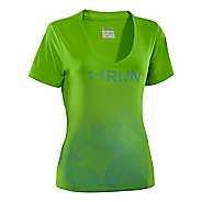 Womens Under Armour Deco Print Gradient V-Neck Short Sleeve Technical Tops