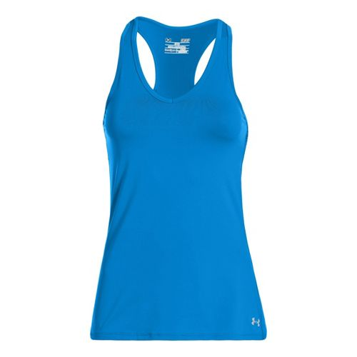 Womens Under Armour Sonic Tanks Technical Tops - Electric Blue/Caspian L