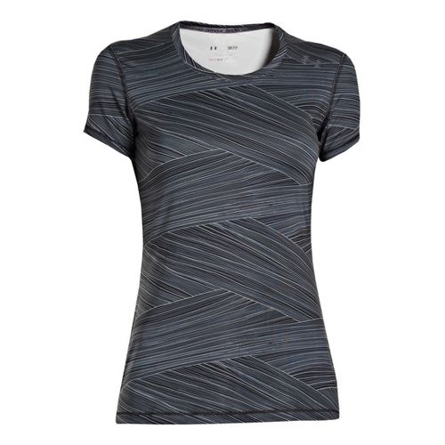 Womens Under Armour Sonic Printed Short Sleeve Technical Tops - Black/Black L