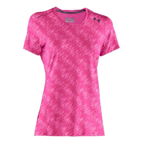 Womens Under Armour Sonic Printed Short Sleeve Technical Tops - Crush/Lead L