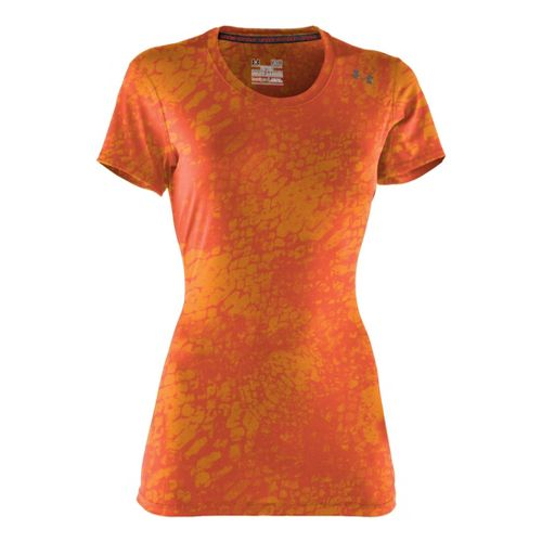 Womens Under Armour Sonic Printed Short Sleeve Technical Tops - Fire/Sonic Yellow XS