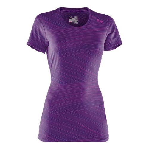 Womens Under Armour Sonic Printed Short Sleeve Technical Tops - Purple Rain/Graphite XS