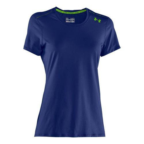 Womens Under Armour Sonic Short Sleeve Technical Tops - Blu-Away/Hyper Green XS