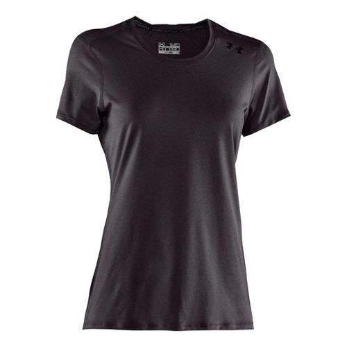 Womens Under Armour Sonic Short Sleeve Technical Tops - Carbon Heather/Black S
