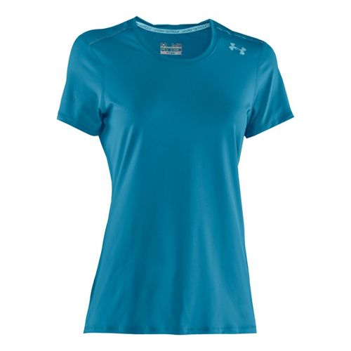 Womens Under Armour Sonic Short Sleeve Technical Tops - Deceit/Venere Red XS