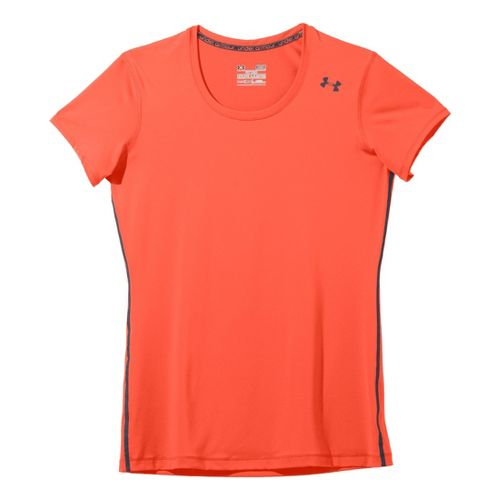 Womens Under Armour Sonic Short Sleeve Technical Tops - Electric Tangerine/Lead XS