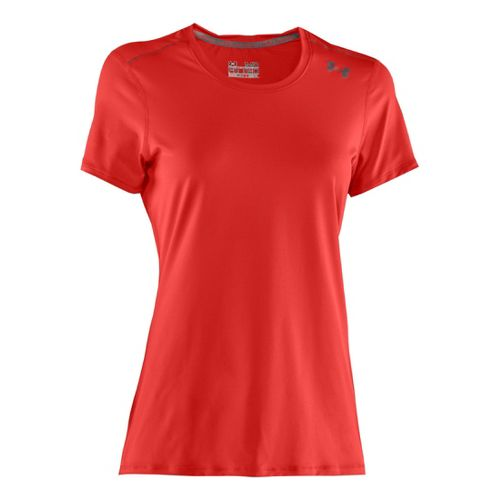 Womens Under Armour Sonic Short Sleeve Technical Tops - Fire/Sonic Yellow XS