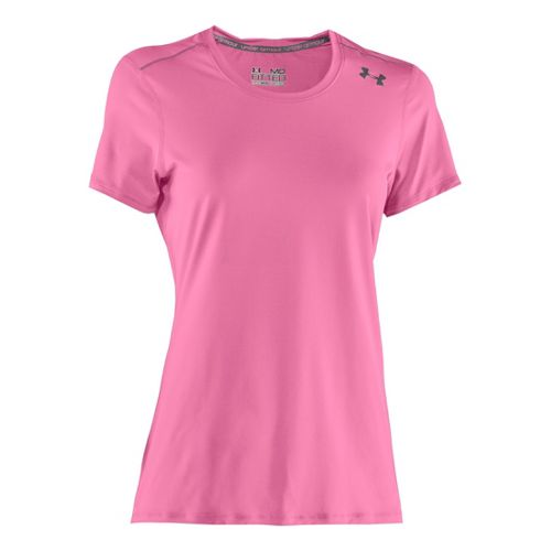 Womens Under Armour Sonic Short Sleeve Technical Tops - Fluo Pink/Graphite XL