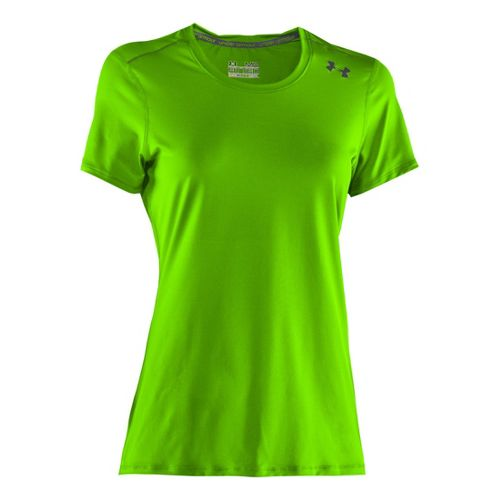Womens Under Armour Sonic Short Sleeve Technical Tops - Hyper Green/Lead XS