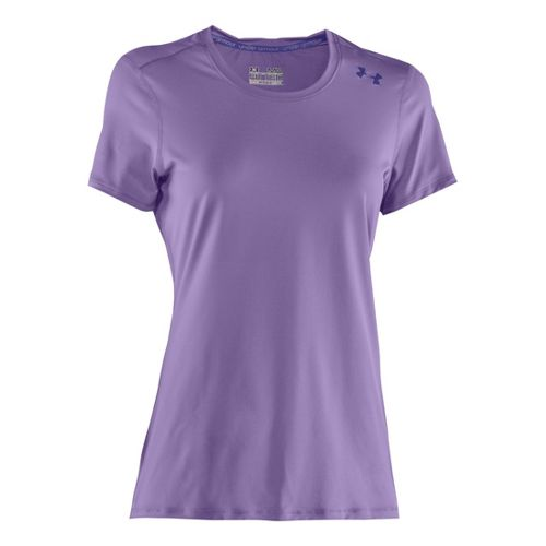Womens Under Armour Sonic Short Sleeve Technical Tops - Petunia/Monarchy M